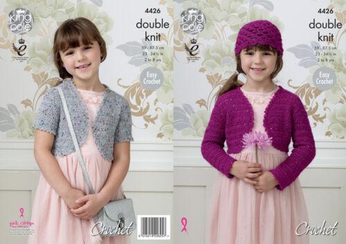 Girls Easy Double Knit Crochet Pattern Bolero Shell Hat King Cole Galaxy DK 4426