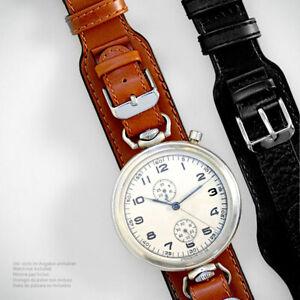 BRAUN-Spezial-Uhrenarmband-B-Uhr-Luftwaffe-Fliegeruhren-RETRO-braun-12-18-Leder