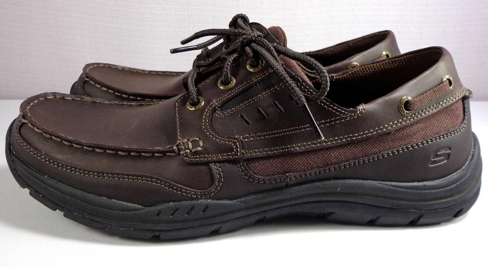 Scarpe casual da uomo  uomos Skechers Relaxed Fit Memory Foam Brown Oxfords Size 10 Lace Up Shoes