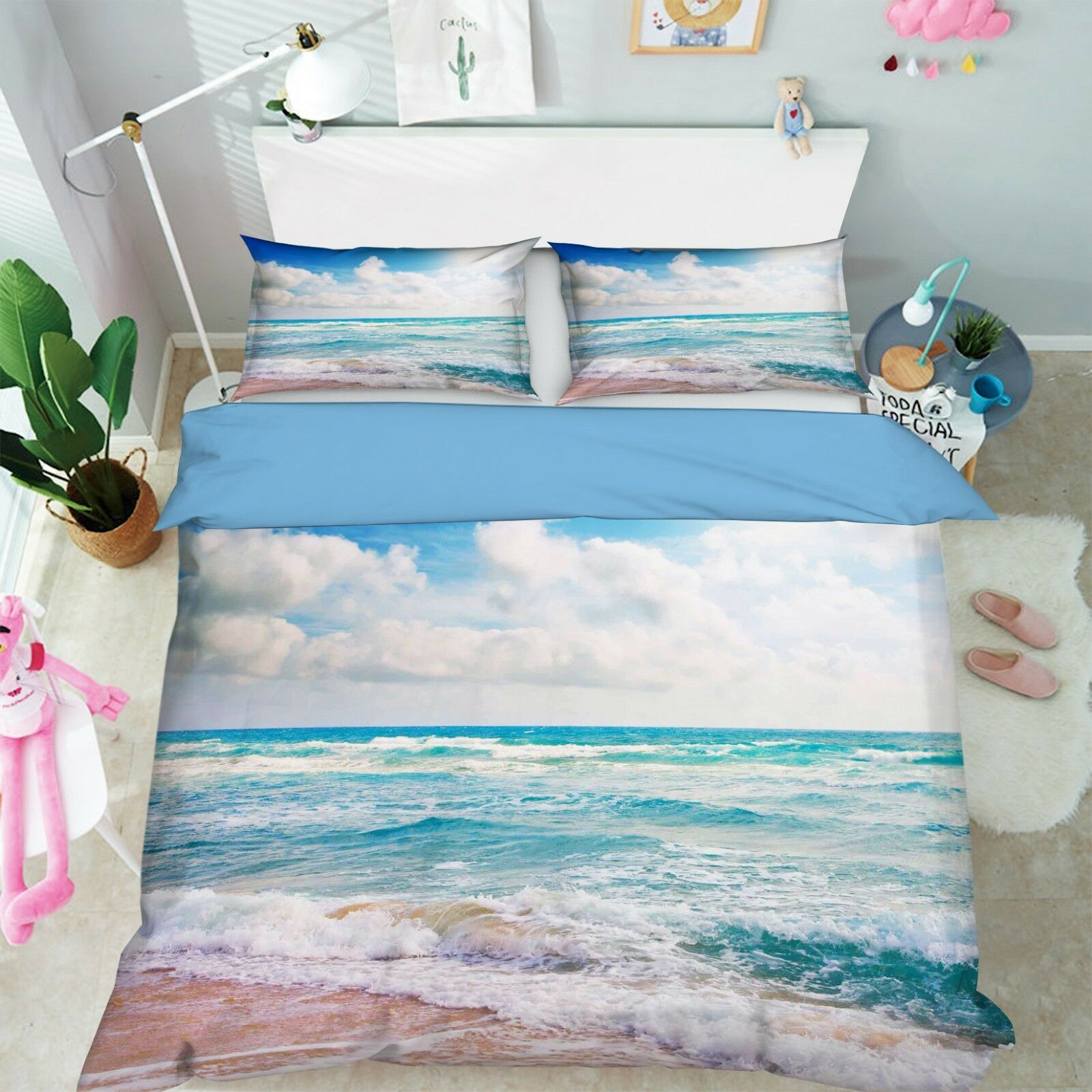 3D Sonne Bewölkt Strand 45 Bett Kissenbezüge steppen Duvet Decken Set Single DE