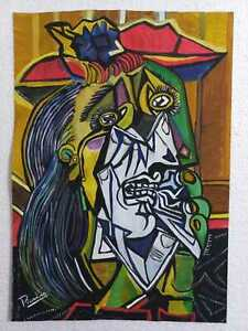 Pablo Picasso Drawing on Paper Signed & stamped Mixed Media