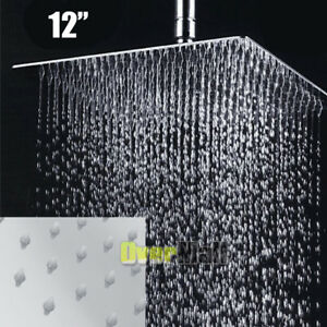 12 Inch Square Stainless Steel Rain Shower Head Rainfall Bathroom