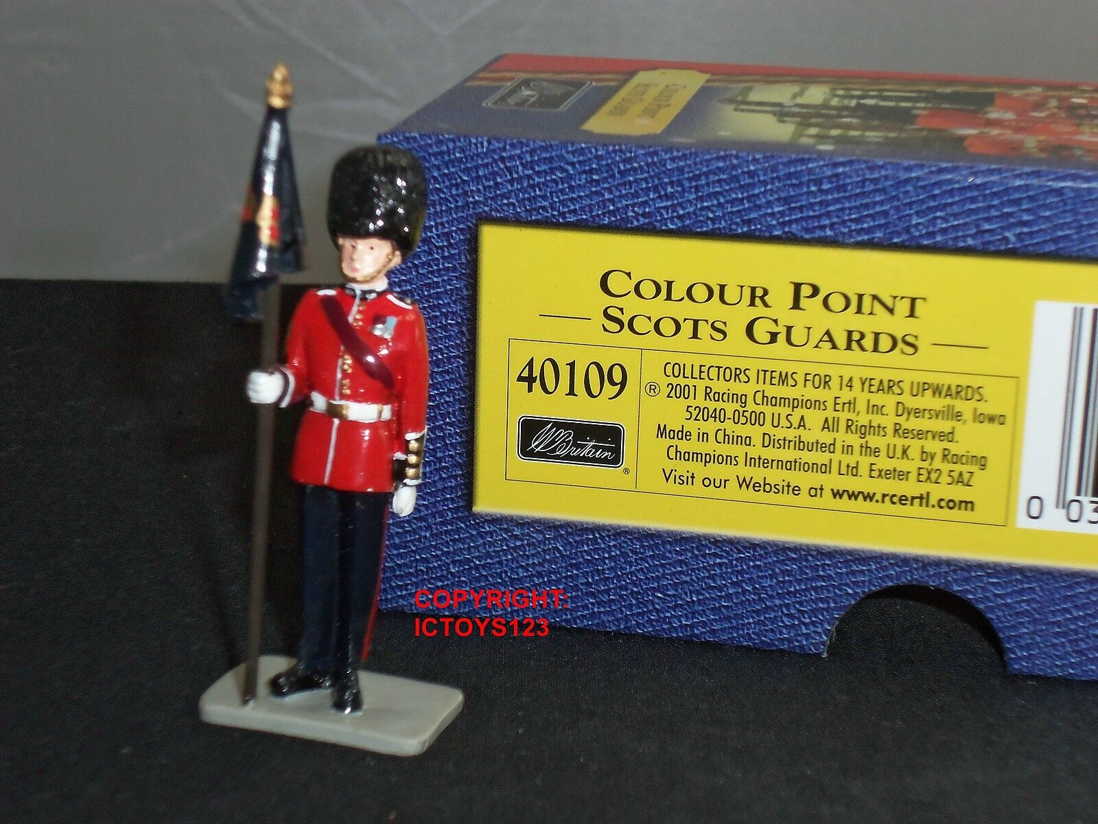 BRITAINS 40109 SCOTS GUARDS COLOUR POINT TROOPING THE COLOUR METAL TOY SOLDIER