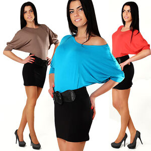 Womens Dress Two Colors Blouse Hot Colors Top Batwing Tunic One Size 8-12 8502