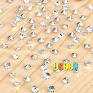 1000-Clear-amp-Silver-Diamond-Confetti-Wedding-Table-Scatter-Crystals-Decorations