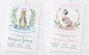 10-PETER-RABBIT-OR-JEMIMA-PUDDLEDUCK-PERSONALISED-BABY-SHOWER-INVITATIONS