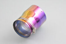 STN Universal Colorful Exhaust Muffler Silencer Tail Tip Pipe 70-88mm Inside Dia