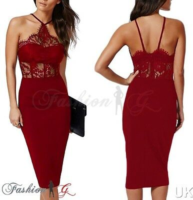 Ladies Womens Dress Midi Bodycon Red Party Pencil Lace Floral Celeb Size 8 10 S,