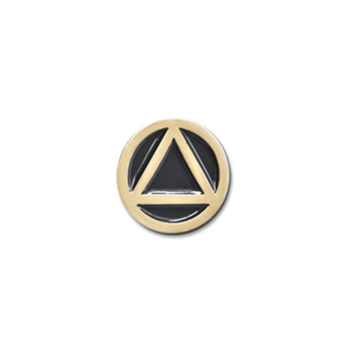 AA Circle//Triangle Small Black and Gold Enameled Lapel Pin 3//8/""