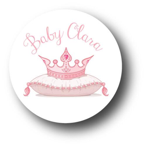 30 Princess Tiara Baby Shower Personalized Stickers