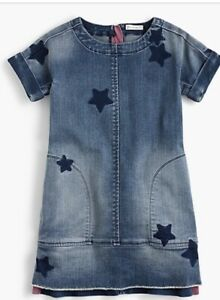 Crew-Cuts-Girls-Star-Print-Denim-Dress-3T-Excellent-Sold-out-Online
