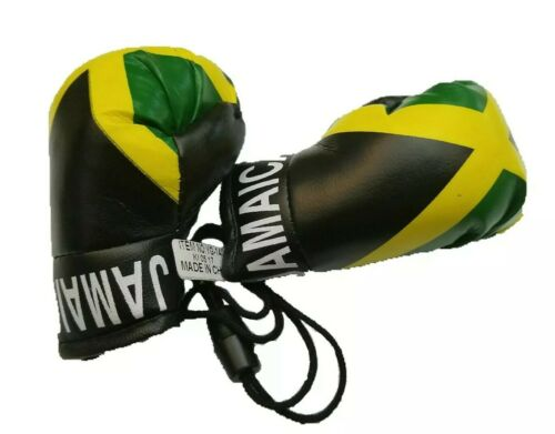 Jamaica jamaican Boxing Glove Mini Banner Flag Car Rearview Mirror Map Island