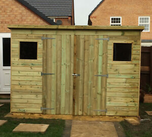 Details About Free Fitting Tongue Groove Wooden Shed Double Doors Windows Large Storage Pent