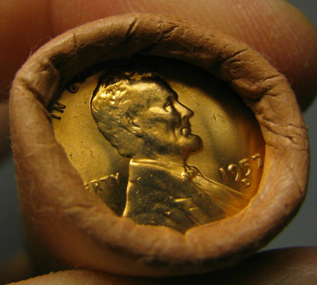 1957 D OBW ORIGINAL BANK WRAPPED ROLL BU UNCIRCULATED LINCOLN WHEAT CENT PENNIES