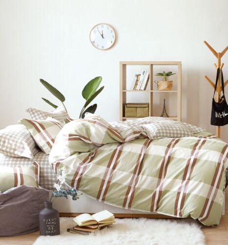200TC 100/% Cotton Reversible Design Green Checked Printed Duvet Cover Set
