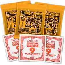 Free 3 9s & Ernie Ball Electric Guitar Strings 09-46 3pack Hybrid Slinky