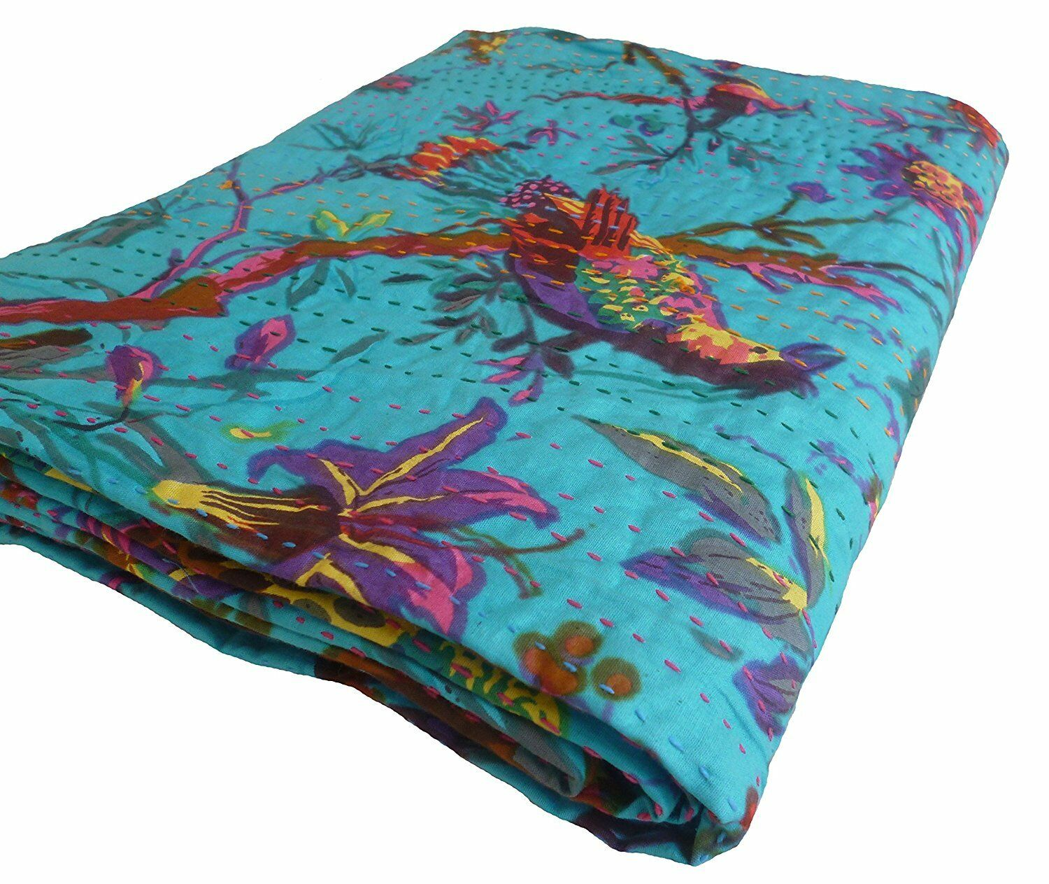 Indian flower Printed Comforter,Queen Quilt,Cotton Bedspread,Kantha Blanket