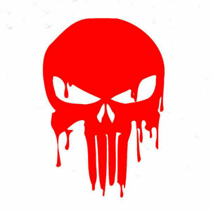 Car-Sticker-15x10-1cm-Bloody-Punisher-Skull-Reflective-Motorcycle-Decal-Red-NEW