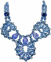 Collier Hals Kette Statement  Glitzer necklace Kristall Handarbeit hellblau blau