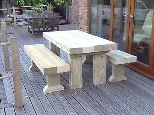 PREMIUM-SANDED-Wooden-Sleeper-Outside-Table-And-Benches-Garden-Furniture