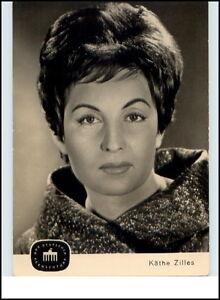 DDR-Fernsehen-Echtfoto-AK-Postkarte-Portraet-Karte-KATHE-ZILLES-Fernsehfunk-1963