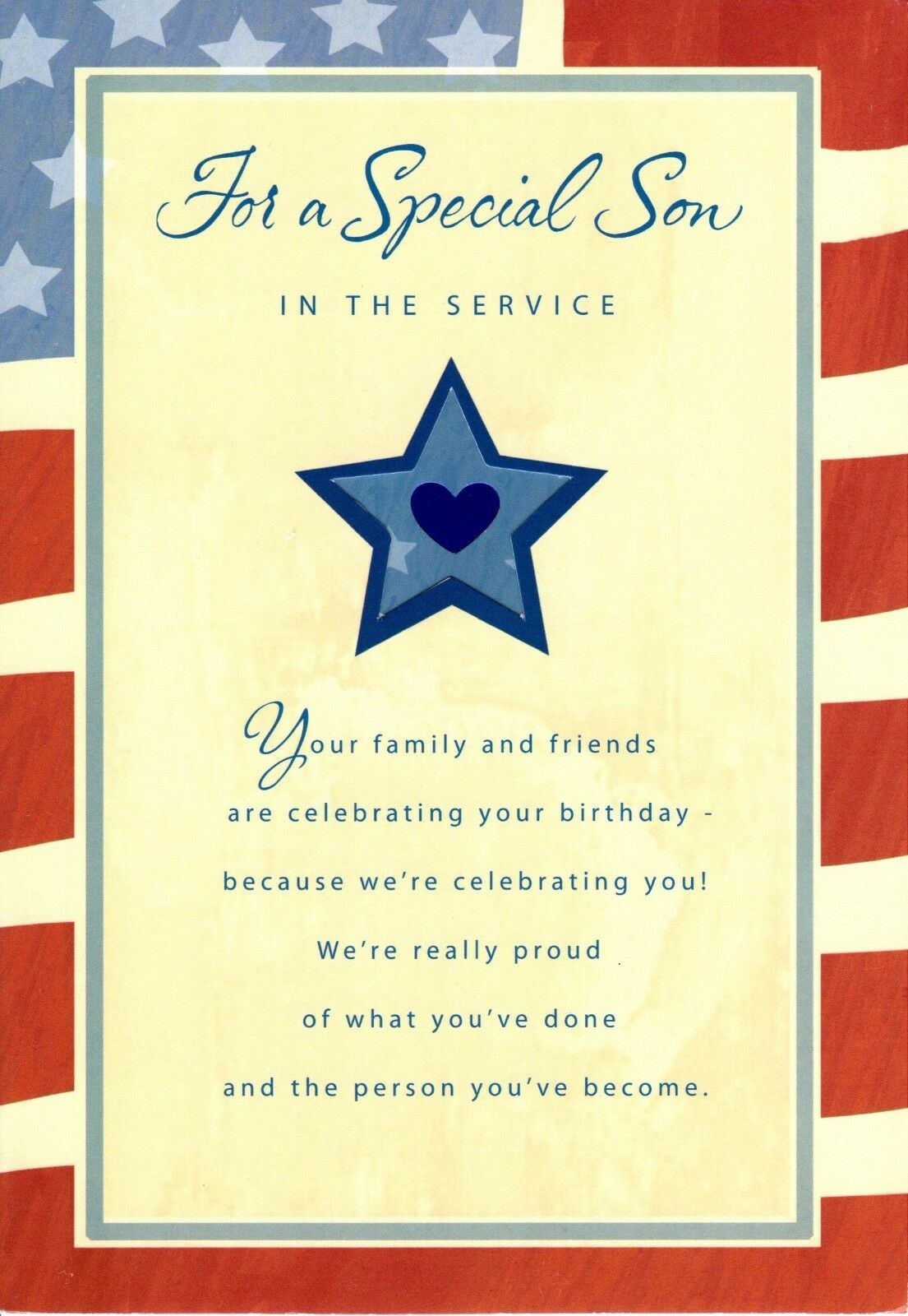 Pleasing Happy Birthday Son In Military Patriotic Flag Proud Of You Personalised Birthday Cards Paralily Jamesorg