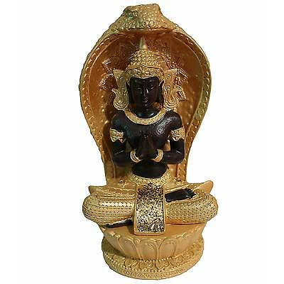 Gold Sitting Buddha With Cobra Snake Surround 20cm high and base diameter 9cm