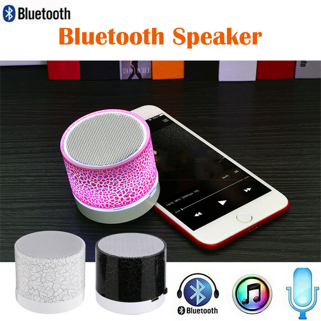 Portable Mini Wireless Stereo LED Light Bluetooth Speaker SD Card For Smartphone