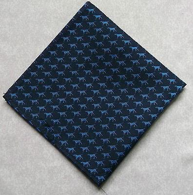 NEW LUXURY SILK TOP POCKET HANKIE HANDKERCHIEF NAVY BLUE BRITISH DOG PATTERN