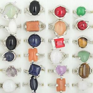 10Stk-Grosshandel-Ringe-Gemischter-Viele-Natuerliche-Mehrfarbig-Stein-Ring-Schmuck