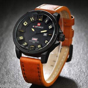 Montre-Naviforce-Neuve-Militaire-Homme-Bracelet-Cuir-Date-US-ARMY-watch-PROMO