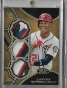 2019 Topps Tier One Baseball Juan Soto Triple Relic 3 CLR PATCH ONE OF ONE 1/1
