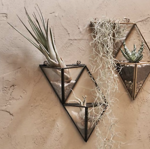 Image Is Loading Triangle Black Gl Wall Hung Planter Plant Pot