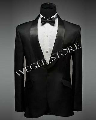 USA Seller: Men's Black Curved Collar Tuxedo Dress, Wedding Blazer Include Pants