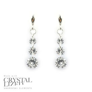 Swarovski-Elements-Crystal-18-KRGP-White-Gold-Plated-Dangling-925-Hook-Earrings