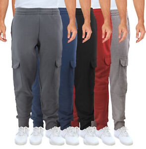 Men-039-s-Cargo-Jogger-Pants-Casual-Workout-Sport-Gym-Fitness-Fleece-Sweatpants