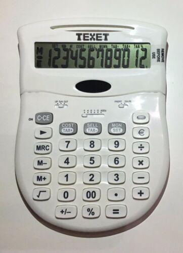 TEXET WHITE SOLAR /& BATTERY POWER OFFICE CALCULATOR