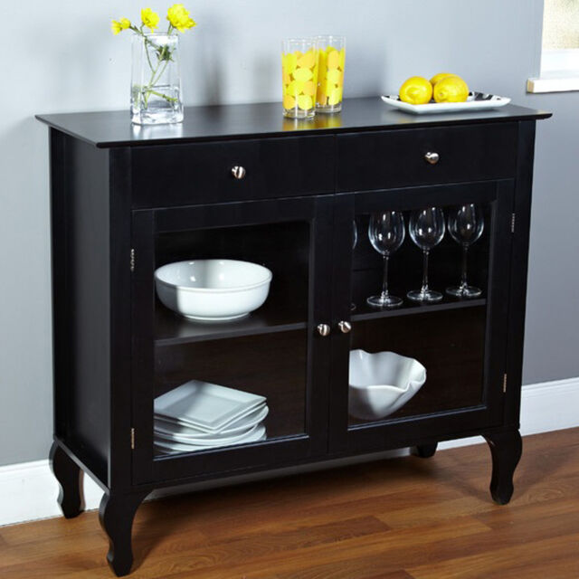Buffet Cabinet Storage Black Kitchen Hutch Cup Holder Organizer Pantry  Sideboard