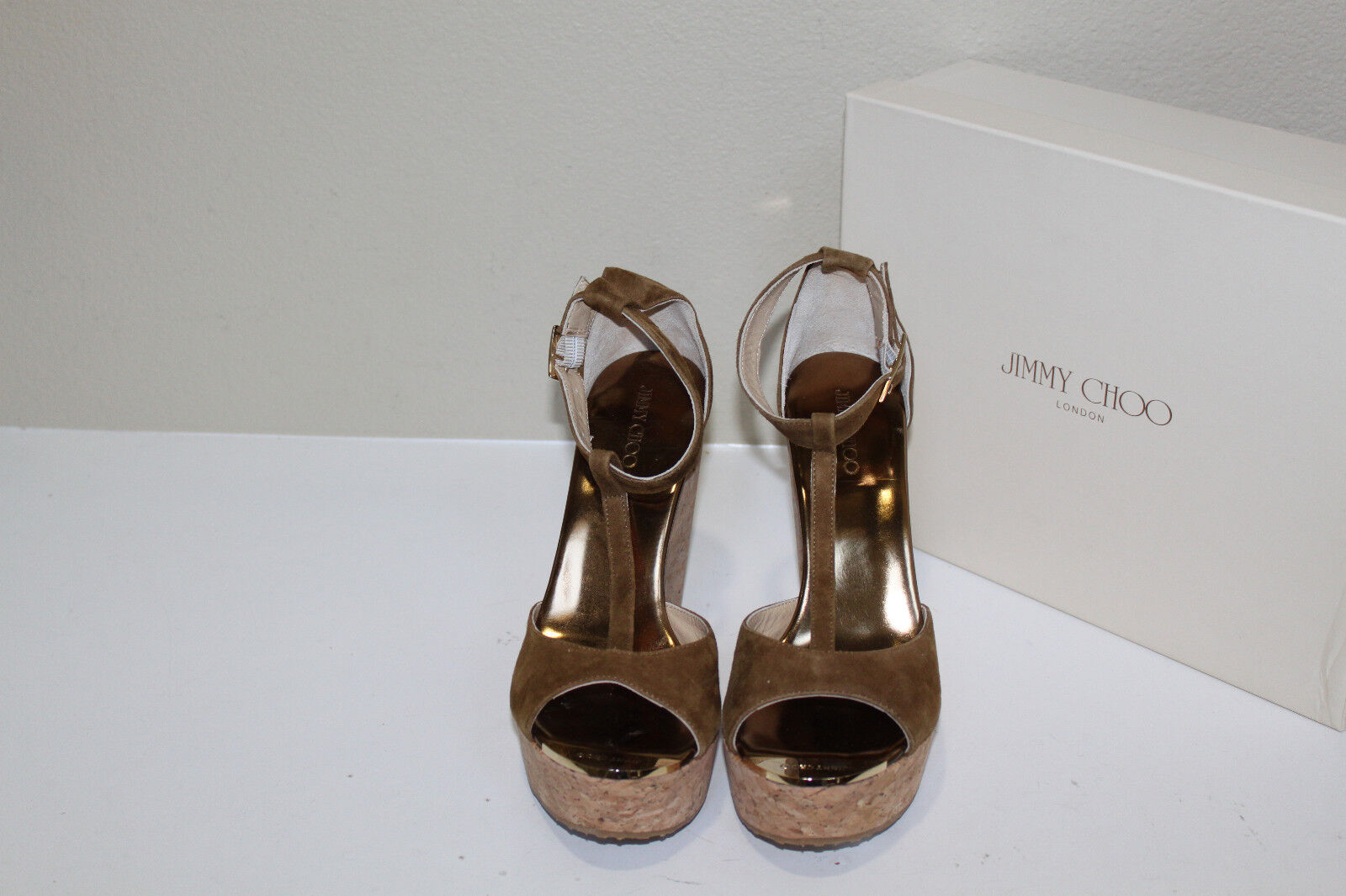 Sz 10 / 40 Jimmy Choo Pela Brown Suede Cork Espadrille Wedge Sandal Shoe
