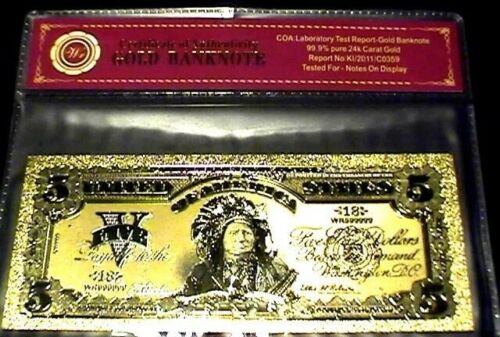 99.9/% 24K GOLD 1901 $5 /& $10 BILL US BANKNOTE IN PROTECTIVE SLEEVE W COA LOT