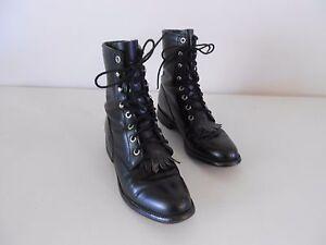 a3812e227e811 Details about Women's Justin Granny Combat Boots Grunge Boho Black Leather  5.5 B Medium