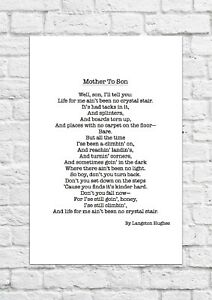 Details About Mother To Son By Langston Hughes Poem A4 Size