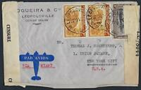 BELGIUM CONGO 1942 WAR TIME CLIPPER AIR MAIL DOUBLE CENSOR LABELS IN LEOPOLDVILL