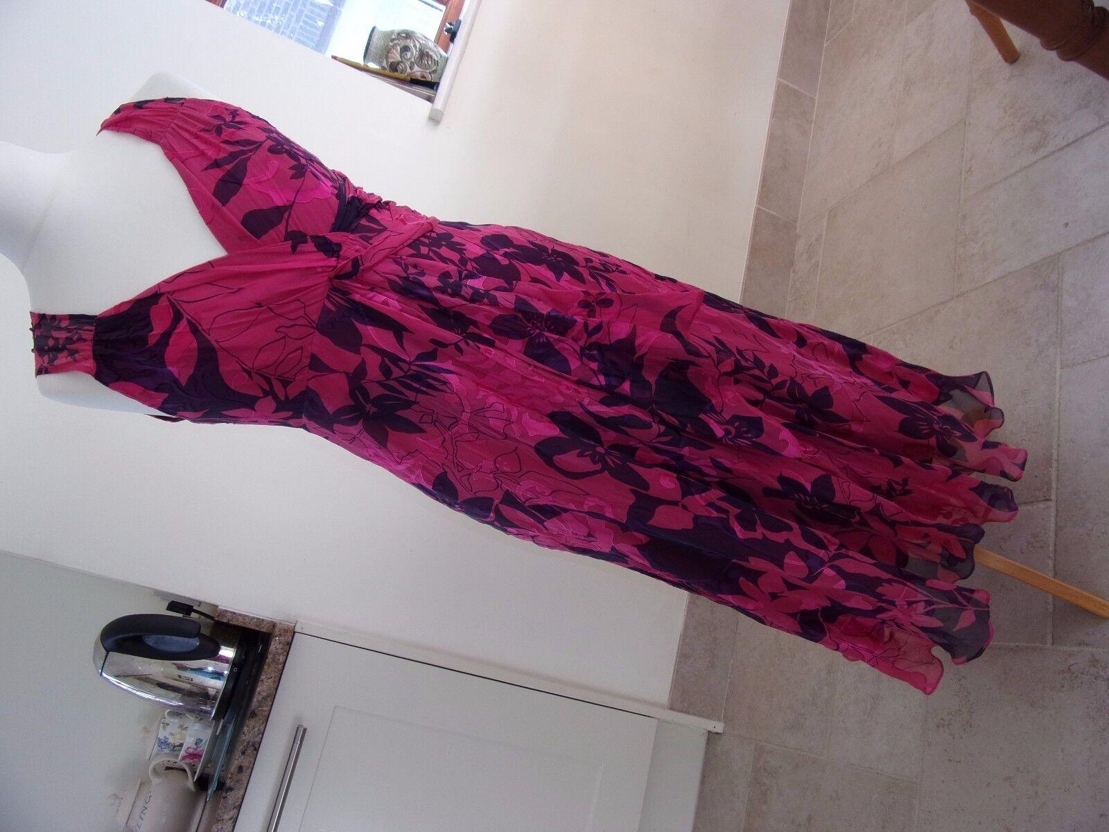 Beautiful PHASE EIGHT Ladies Pink & Purple Floral Silk Mix Dress 12