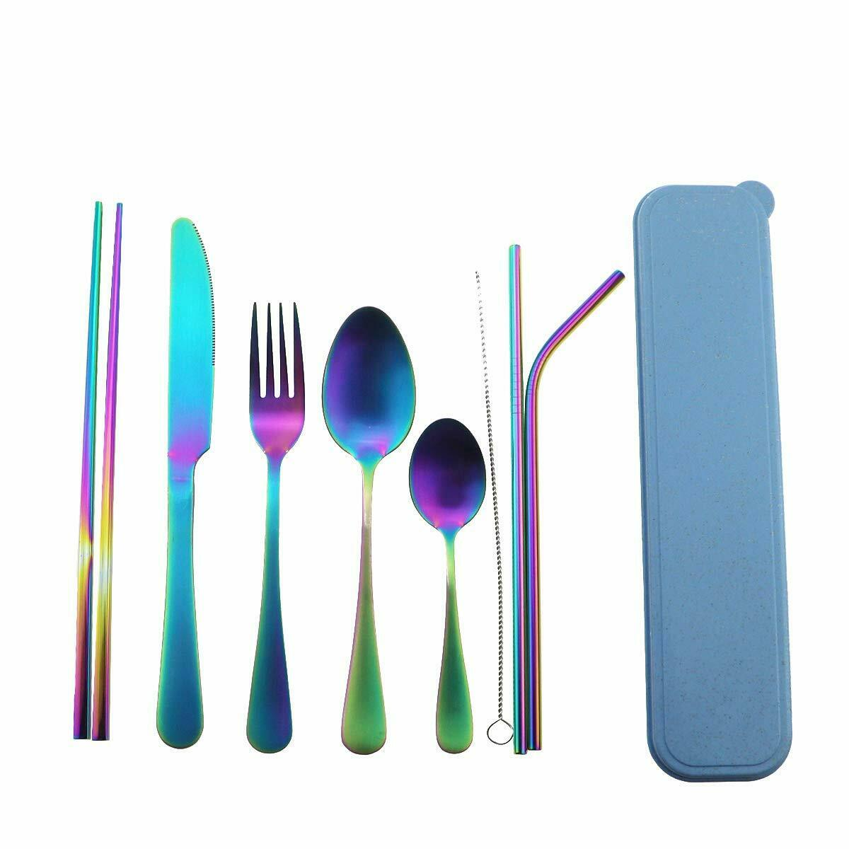 Do Buy Portable Cutlery Set with Case Chopsticks 3 in 1 Spork Black Spoon Fork Knife Set Gift Box 18//10 Stainless Steel