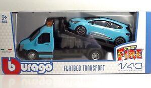 Bburago-31401-Car-Hauler-w-Renault-CLIO-034-Blue-034-METAL-1-43