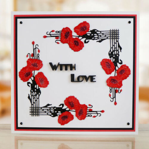 Flower Framed Gift Cards Metal Cutting Dies For Scrapbooking Craft Xmas Decor  X