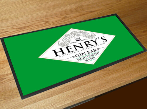 Personalised with your name Green Gin Spirits Label bar runner Mat