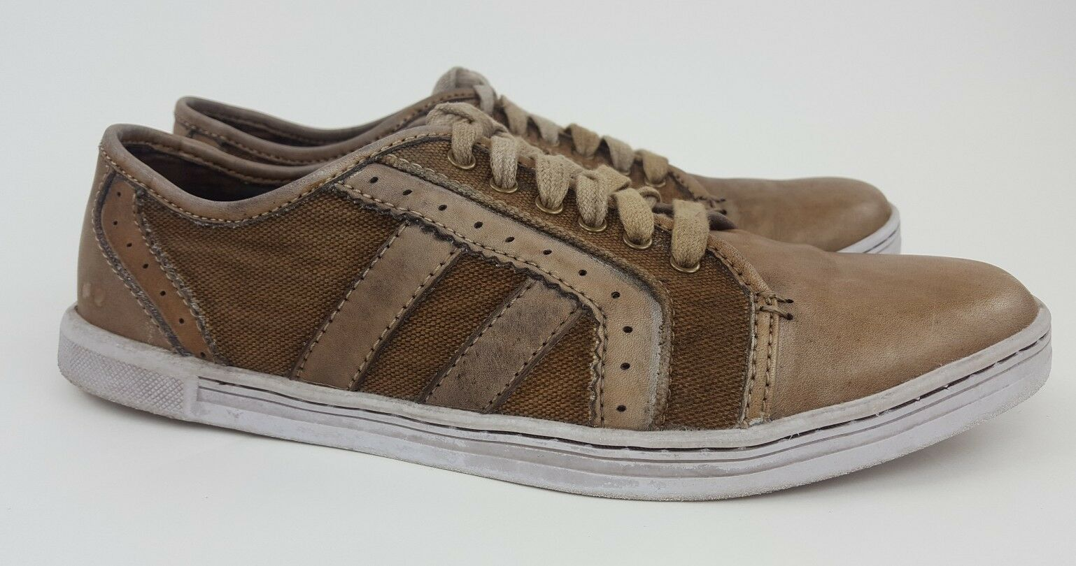 BED STU NASH BROWN LEATHER / CANVAS LACE UP UP UP CASUAL SNEAKER SHOES Uomo SIZE 12 d5cd47