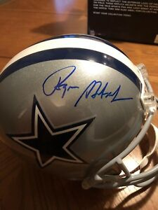0a389bdff1a Image is loading Roger-Staubach-signed-Cowboys-full-size-football-helmet-